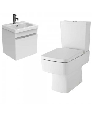 400mm Wall Hung Vanity Basin Unit Gloss White Close Coupled Toilet
