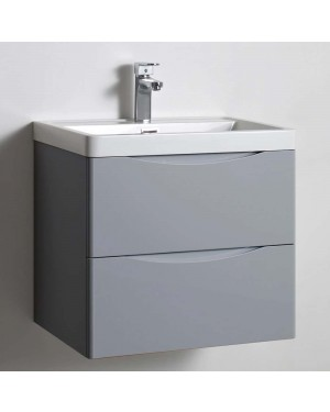 600mm Grey Wall Hung Soft Close Vanity Drawer Unit