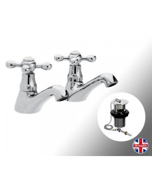 1/4 Turn Pair Traditional Hot & Cold Bathroom Basin Sink Taps & Luxury Basin Waste