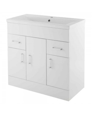 Eden Gloss White 800mm Floor Standing Basin Unit (3 Door, 2 Drawer) & Basin NVM105 - NVM015