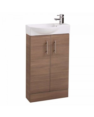 Oak Modern Slimline 500mm Bathroom Cloakroom Vanity Sink Basin Unit Cabinet