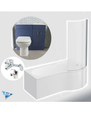 Lomond P Shape Right Hand Bathroom Suite in Matt Blue Vanity Unit BTW Pan Tap Set