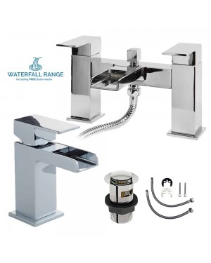 Chrome Waterfall Bath Square Shower Mixer Tap & Mini Mono Basin Sink Taps