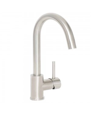 Stainless Steel Kitchen Sink Mixer Tap Modern Alva Monobloc Swivel Spout Luxury