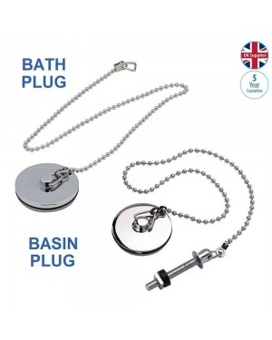 Luxury Chrome Brass Bathroom Bath 1¾ AND Basin 1½ Plug with Heavy Duty Chain Set