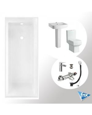 Bathroom Suite Thermostatic Bath Tap Set Basin Pedestal Sink Close Coupled Toilet
