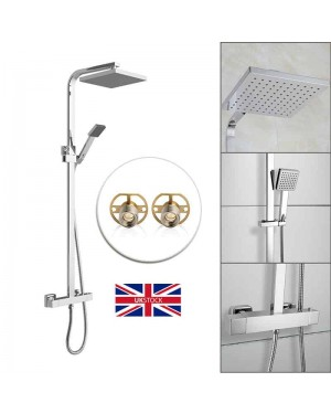 Shower Square Modern Overhead Rain Thermostatic Mixer Chrome Bathroom Valve Kit