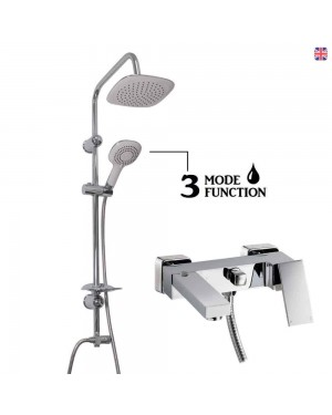 White Overhead Shower Kit & Square Bath Shower Mixer