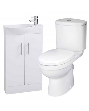 White 500 Slimline Vanity Unit & Toilet With Tap