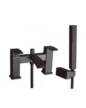 Matt Black LUCIA Bath Shower Mixer Tap Including Shower Kit