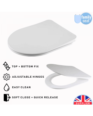 Luxury Bathroom Toilet Seat Soft Close Easy Clean Top & Bottom Fix Derby
