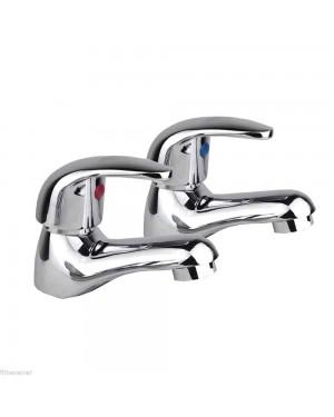 Titan Chrome Basin Sink Bathroom Taps Hot & Cold Pair Modern