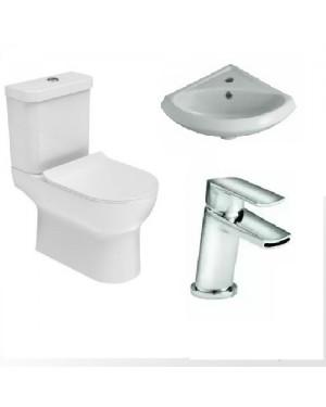 Luxury Bathroom Cloakroom Rimless Close Coupled Toilet incl Corner Basin & Mixer Tap