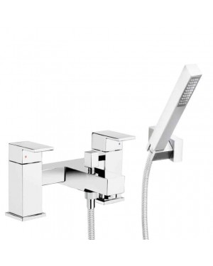 Modern Adona Square Bath Shower Mixer Tap & Handset Kit