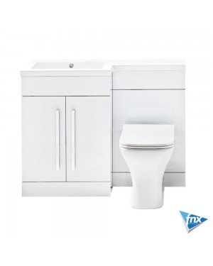 1100mm Left Hand L Shape White Bathroom Furniture Vanity Unit NO WC included