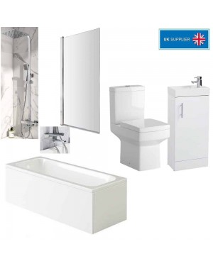 Luxury Complete Bathroom Suite Including BLOCK Wall Mounted Bath Filler Mixer Tap