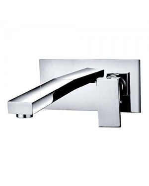 Luxury Modern Chrome Square Wall Mounted Bathroom Basin Sink Lever Mixer Tap