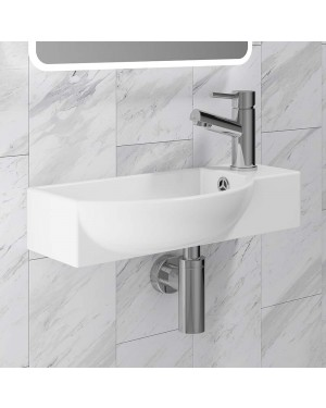 500mm Curved Bathroom Toilet Basin Sink Wall Hung Ceramic 1 Tap Hole