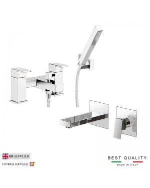 Adona Modern Wall Mount Basin Mixer Tap & Deck Bath Shower Mixer