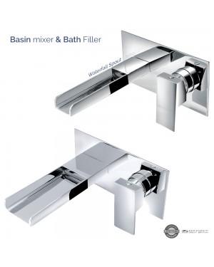 Waterfall Wall Mounted Basin Mixer Tap & Bath Filler Set Chrome Modern
