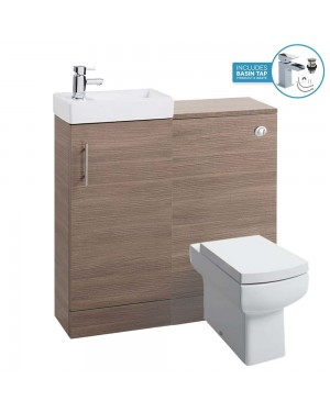 Medium Oak 800 Bathroom Vanity Basin Sink Back To Wall Toilet Unit Furniture WC