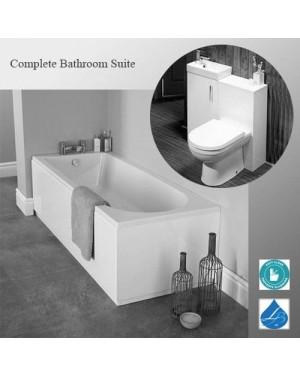 Bathroom Suite 1700 Single Ended Bath 810mm Basin Vanity Unit Toilet Gloss White