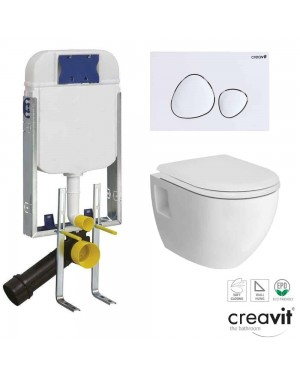 Creavit Wall Hung Cistern Frame Dual Flush Plate Push Button & WC Toilet Pan & Soft Close Seat