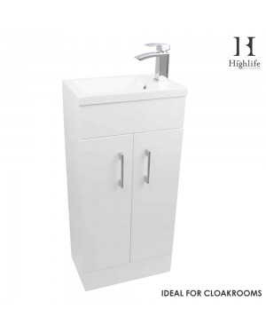 Gloss White 400mm Floor Standing Cloakroom Vanity Basin Sink Unit Cabinet