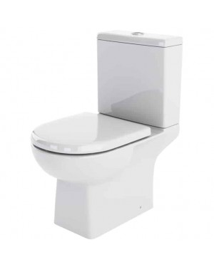 White Modern Close Coupled Toilet Pan & Cistern Including Soft Close Toilet Seat White