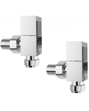 Luxury Modern Square Deluxe Chrome Angled Heated Towel Rail Radiator Valves