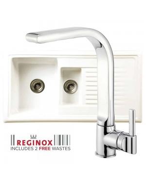 Reginox Kitchen Sink Ceramic Reversible Inset 1.5 Bowl & VENTA Tap