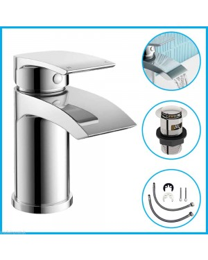 Square Round Modern Basin Sink Mono Mixer Tap Chrome Bathroom Cloakroom Luxury