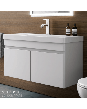 Saneux 600mm Wall Hung Vanity Unit Gloss White