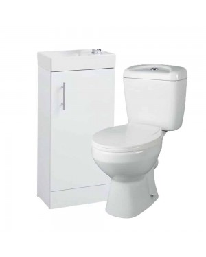400mm Vanity Unit and Close Coupled Toilet pan and cistern - Bathroom Set