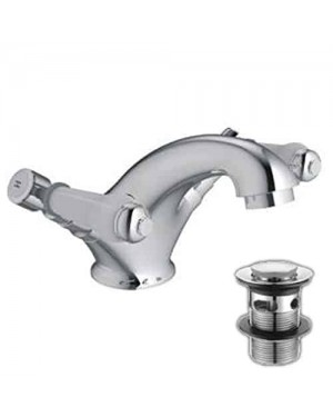 Alfred Victoria Modern Mono Basin Brass Mixer with Sprung Waste KB05 - Chrome Finish