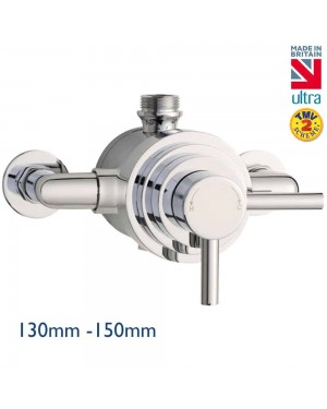 Chrome Modern Dual Exposed Thermostatic Shower Valve 130mm to 150mm Centres