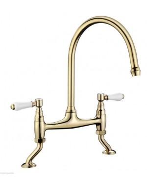 Bridge Kitchen Sink Tap (Swan Neck, Ceramic Levers) - Gold