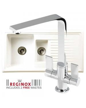 Reginox Kitchen Sink Ceramic Reversible Inset 1.5 Bowl & PISA Tap