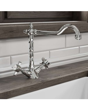 Chrome Traditional Kitchen Mono Sink Mixer Tap Cross Handle French Classic