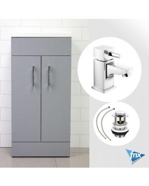 Lomond GREY 400mm Double Door Soft Close Bathroom Vanity Unit with Basin & HERO Tap