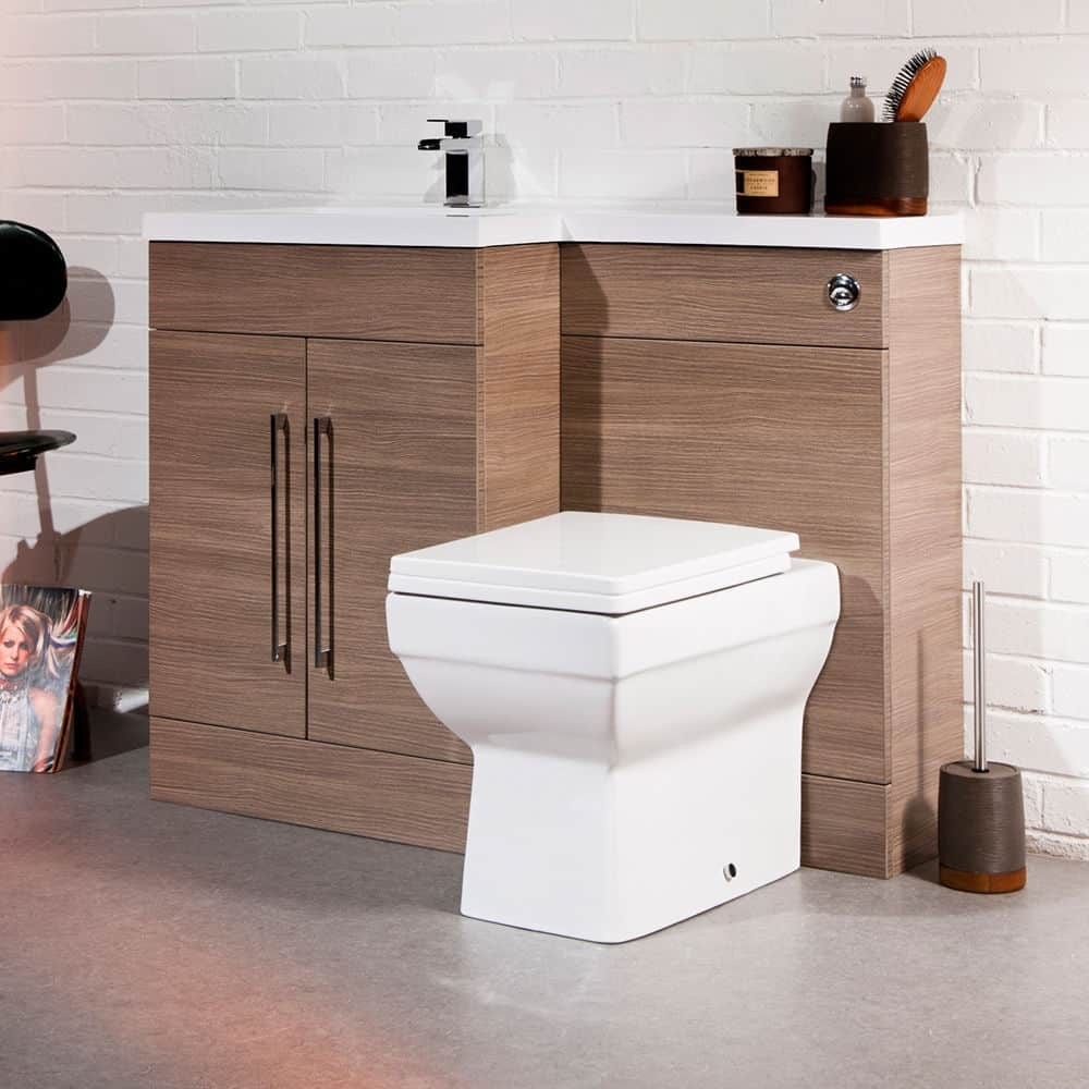 Medium Oak Left Hand Basin 1100mm L Shaped Bathroom Vanity Unit Sink Cabinet Fnx Bathrooms