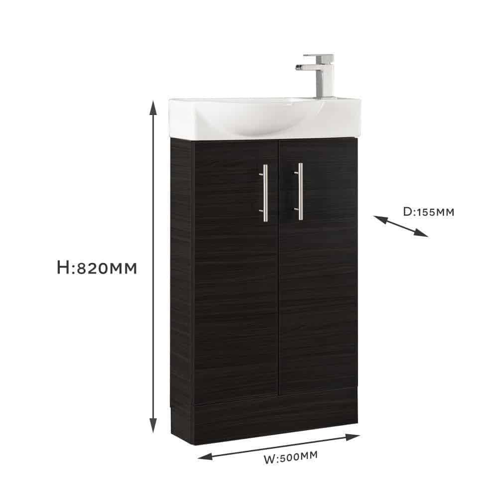 white modern slimline 500mm bathroom cloakroom vanity sink. Black Bedroom Furniture Sets. Home Design Ideas
