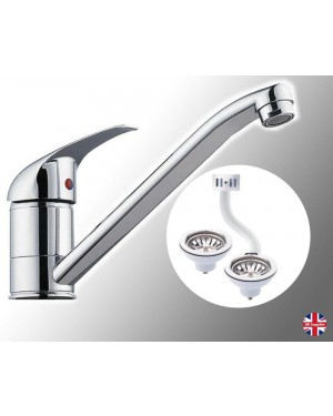 Kitchen Sink Mixer Tap Including 2 x Wastes One with Overflow Port Chrome