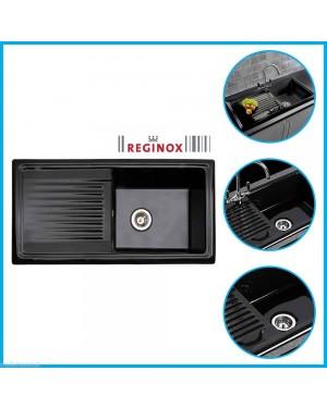Reginox RL404CB 1 Bowl Black Ceramic Reversible Kitchen Sink & Waste