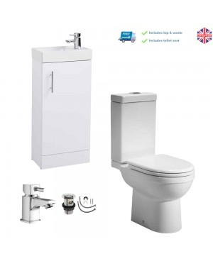 400mm Cloakroom Basin Sink Vanity Unit Cabinet Close Coupled Pan & Cistern Set