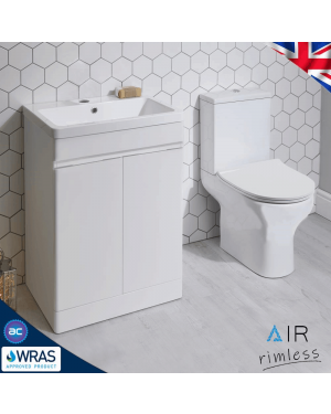 Air Rimless Close Coupled Toilet & Vanity Unit Cloakroom Suite