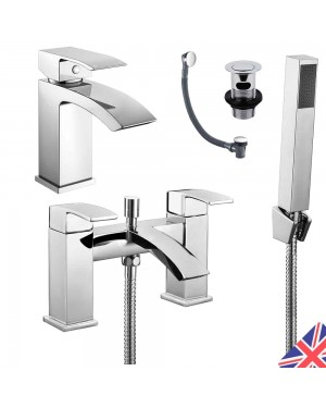 Square Waterfall Chrome Bath Shower Mixer & Basin Sink Mono Tap Inc Waste