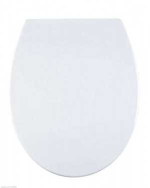 Aqualona Soft Close Universal Quick Release WC Toilet Seat with Non-Rust Chrome Hinges, Plastic, White