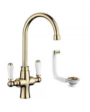Traditional Kitchen Sink Mixer Tap Incl Basket Strainer Waste & Overflow Gold