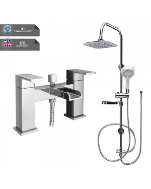 Square Overhead Shower Rigid Riser Kit Chrome Waterfall Bathroom Bath Mixer Tap